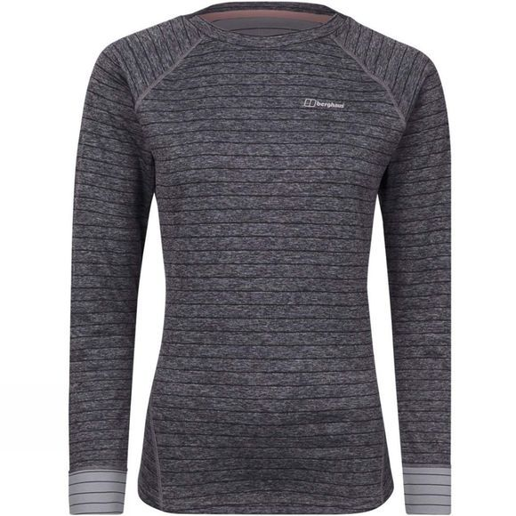 Berghaus Womens Thermal Tech Tee Long Zip Crew Carbon/Trade Winds