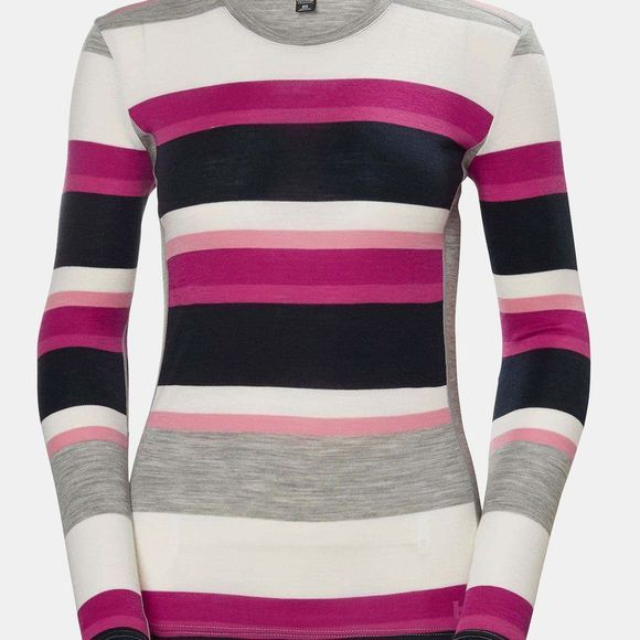 Helly Hansen Women's HH Merino Mid Graphic LS Crew Dragon Fruit Stripe