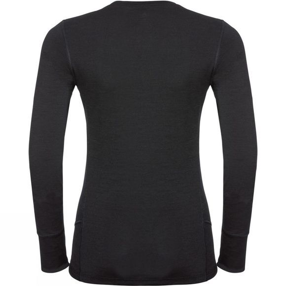 Odlo Womens Natural 100% Merino Warm Long-Sleeve Base Layer Black - Black