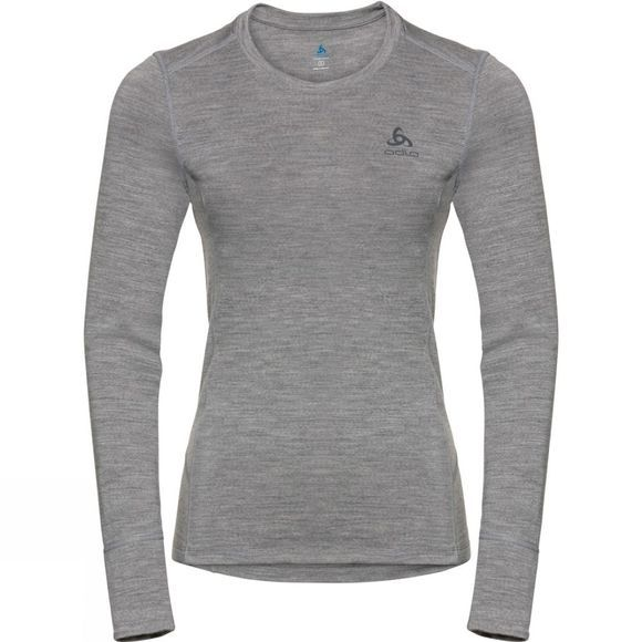 Odlo Womens Natural 100% Merino Warm Long-Sleeve Base Layer Grey Melange - Grey Melange