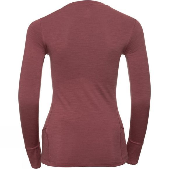 Odlo Womens Natural 100% Merino Warm Long-Sleeve Base Layer Roan Rouge - Grey Melange