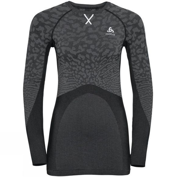 Odlo Womens Blackcomb Long-Sleeve Base Layer Top Black - Odlo Steel Grey - Silver