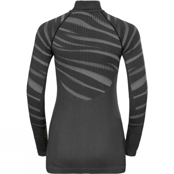 Odlo Womens Blackcomb Half Zip Turtle-Neck Black - Odlo Concrete Grey