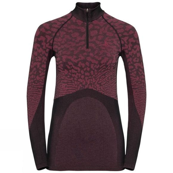 Odlo Womens Blackcomb Half Zip Turtle-Neck Black - Cerise - Cerise