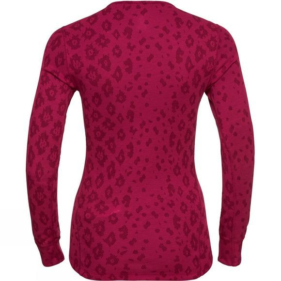 Odlo Womens X-Mas Active Warm Long-Sleeve Base Layer Cerise - AOP Fw19