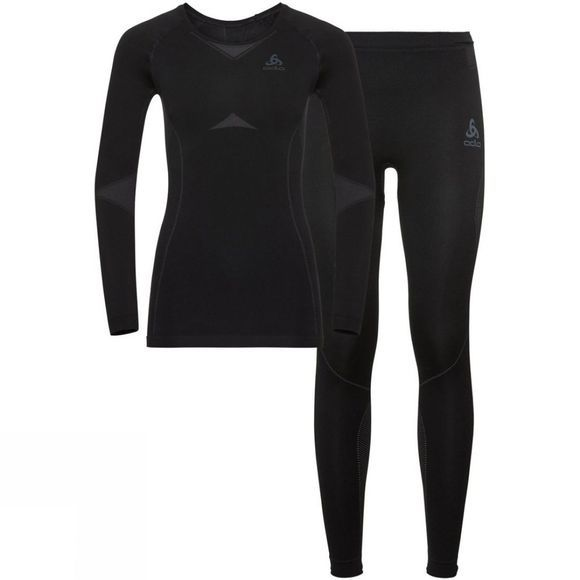 Odlo Womens Performance Evolution Base Layer Set Black - Odlo Graphite Grey