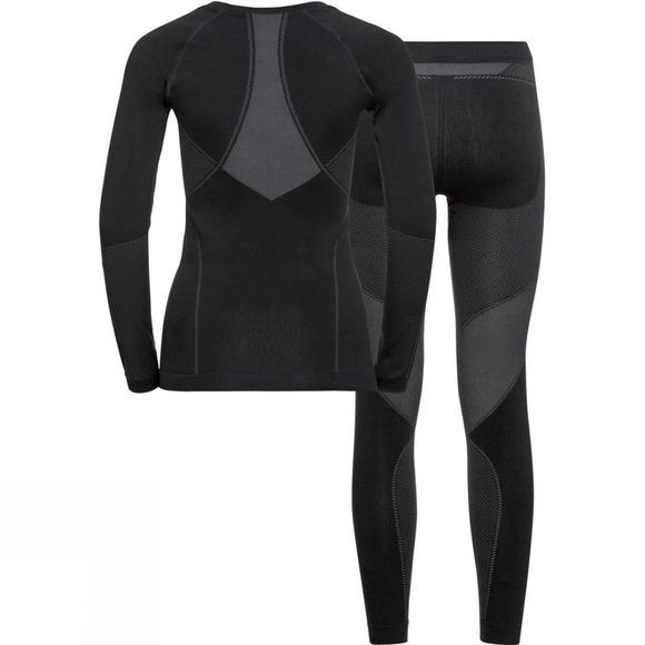 Odlo Womens Performance Evolution Warm Base Layer Set Black - Odlo Graphite Grey