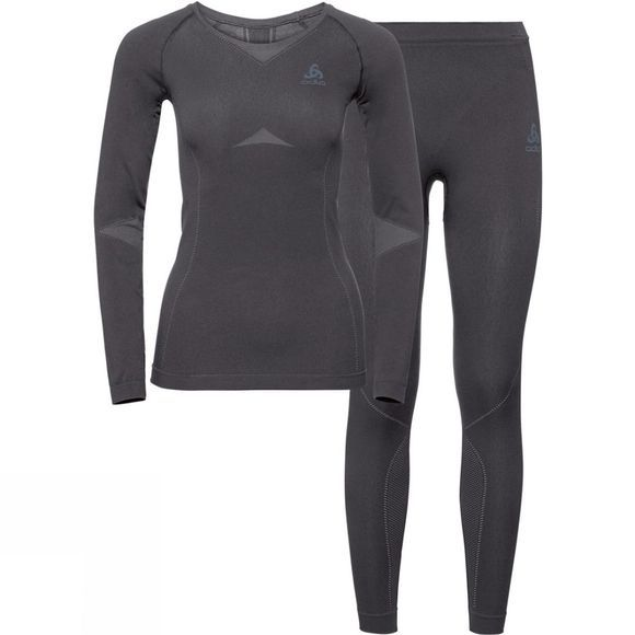 Odlo Womens Performance Evolution Warm Base Layer Set Odlo Steel Grey - Odlo Graphite Grey
