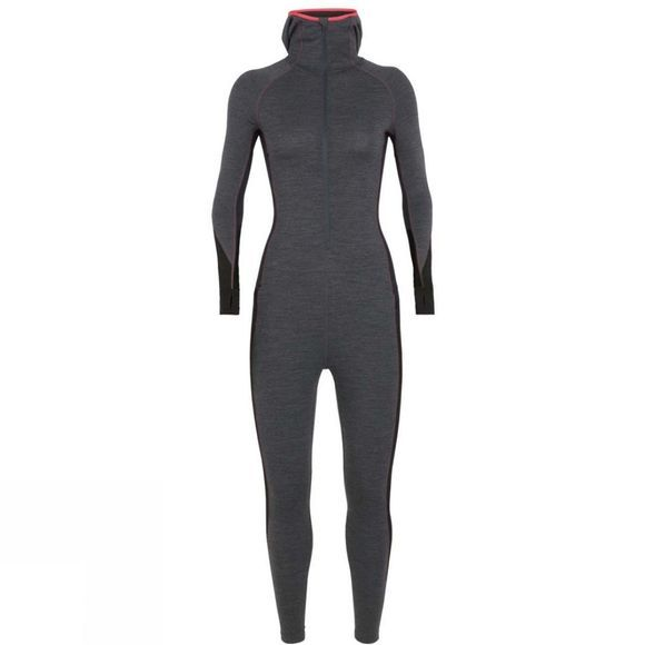 Icebreaker Womens 200 Zone One Sheep Suit Jet Heather/Black/Prism