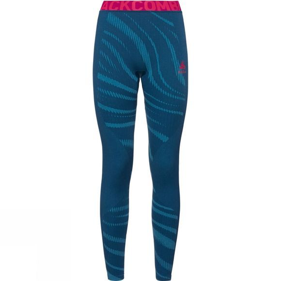 Odlo Womens Blackcomb Base Layer Pants Poseidon - Turkish Tile - Diva Pink