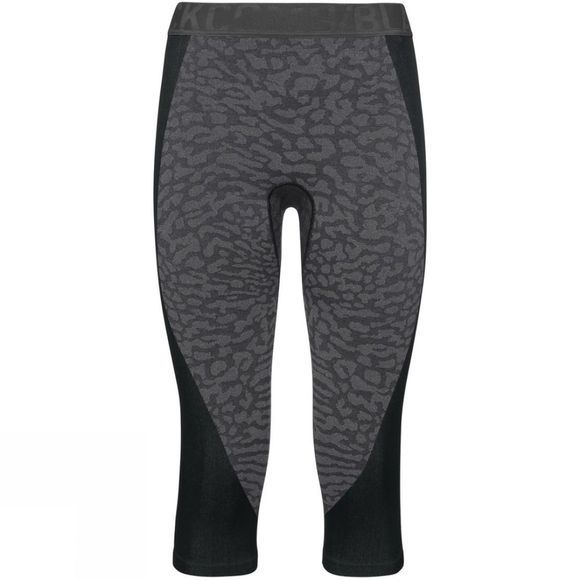 Odlo Womens Blackcomb 3/4 Base Layer Pants Black - Odlo Steel Grey - Silver