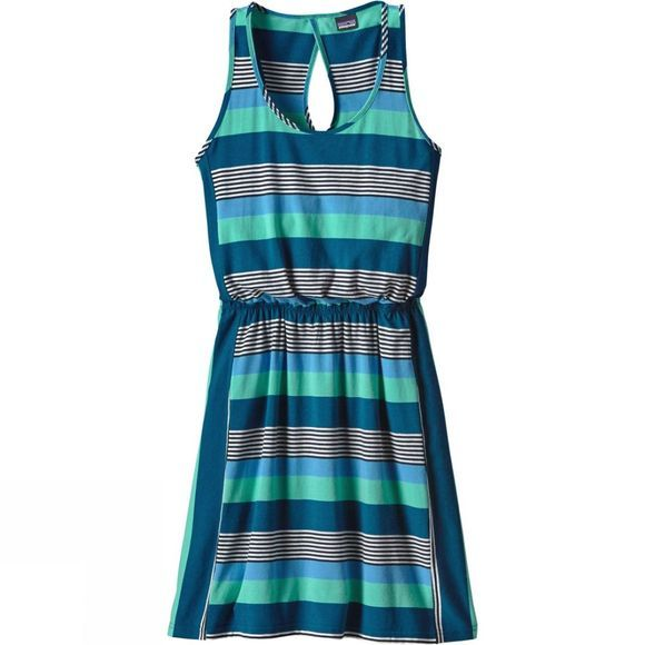 Patagonia Womens West Ashley Dress Fitz Stripe Micro Navy Blue