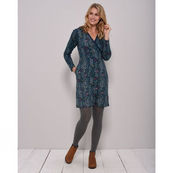 Brakeburn Womens Trailing Leaf Wrap Dress Teal