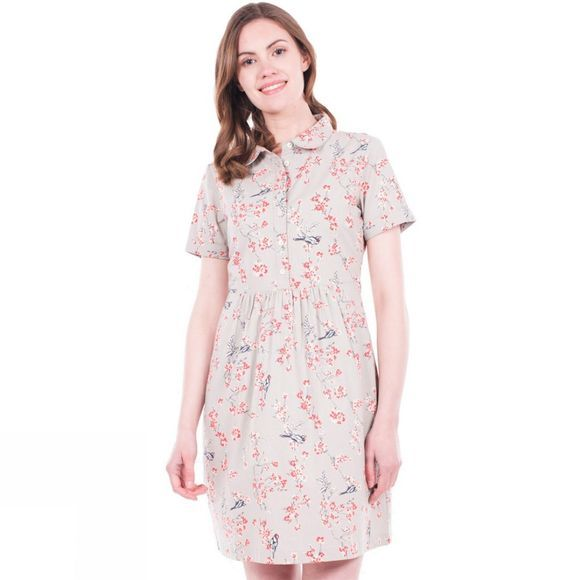 Womens Bird Blossom Shirt Dress