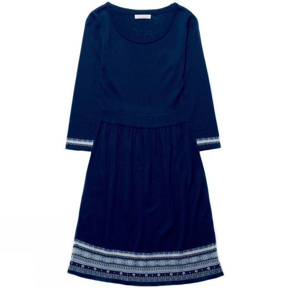 Brakeburn Womens Fitted Fairisle Hem Dress Navy