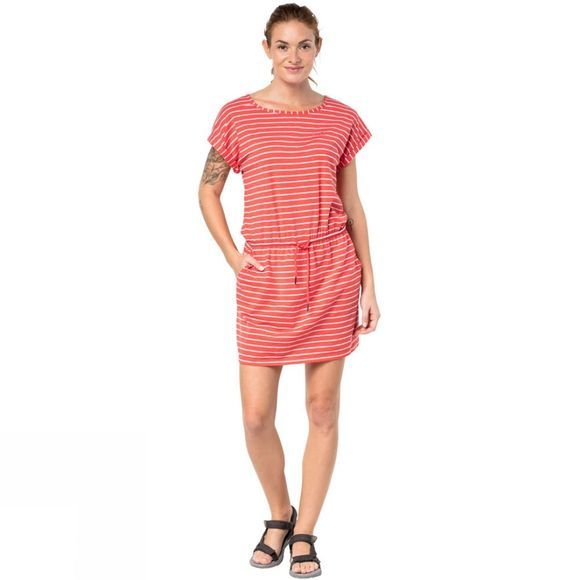 Jack Wolfskin Womens Travel Striped Dress Hot Coral Stripes