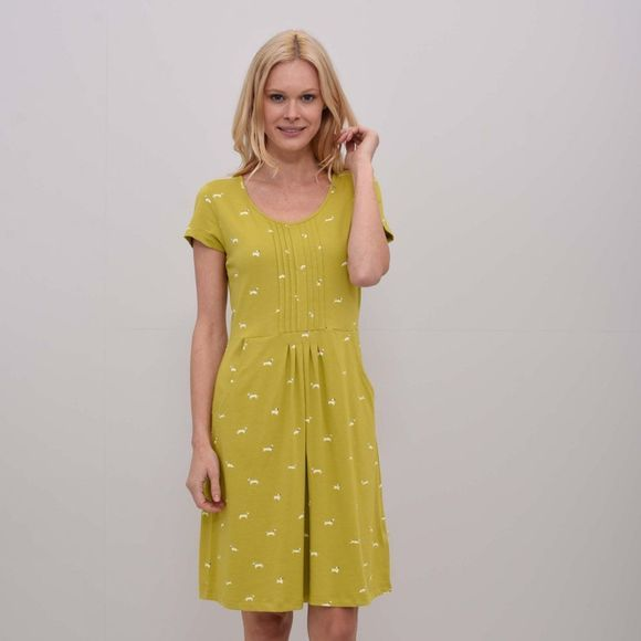 Brakeburn Womens Sausage Dog Pleated Dress Yellow