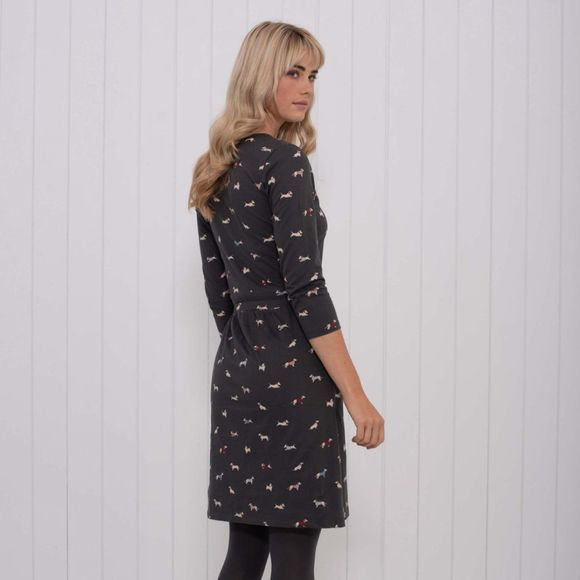 Brakeburn Womens Sausage Dog V Neck Dress Charcoal