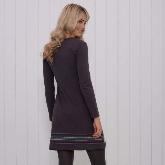 Womens Embroidered Henley Dress