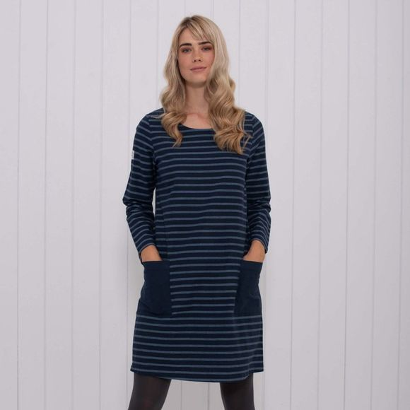 Brakeburn Womens Woven Stripe Dress Navy