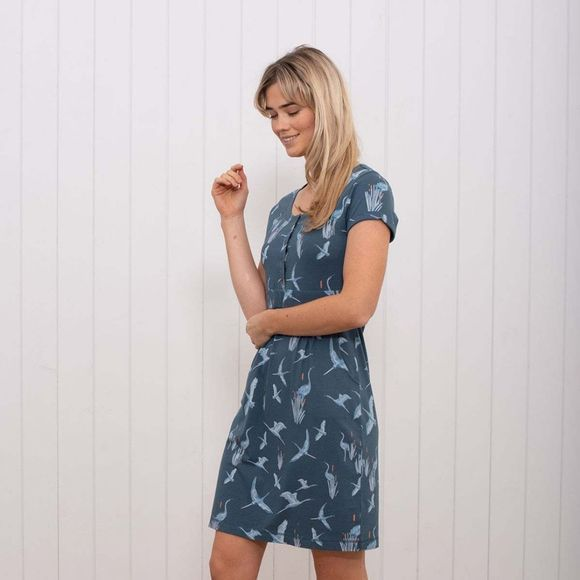 Brakeburn Womens Heron Placket Dress Blue