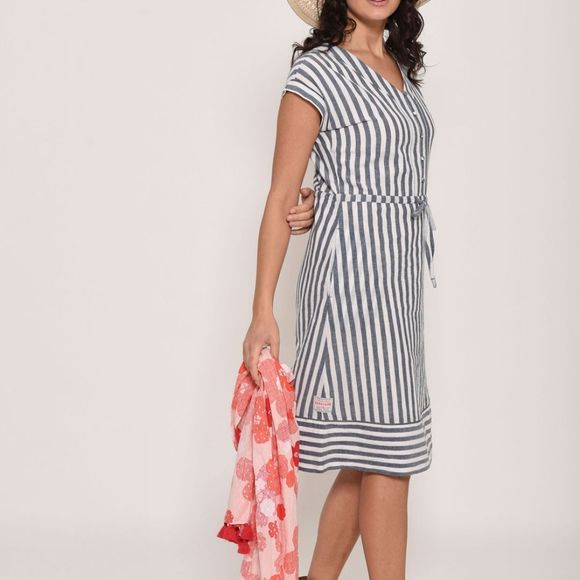 Brakeburn Womens Woven Stripe Dress  Multi