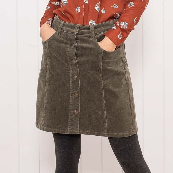 Brakeburn Cord button skirt Moss Green