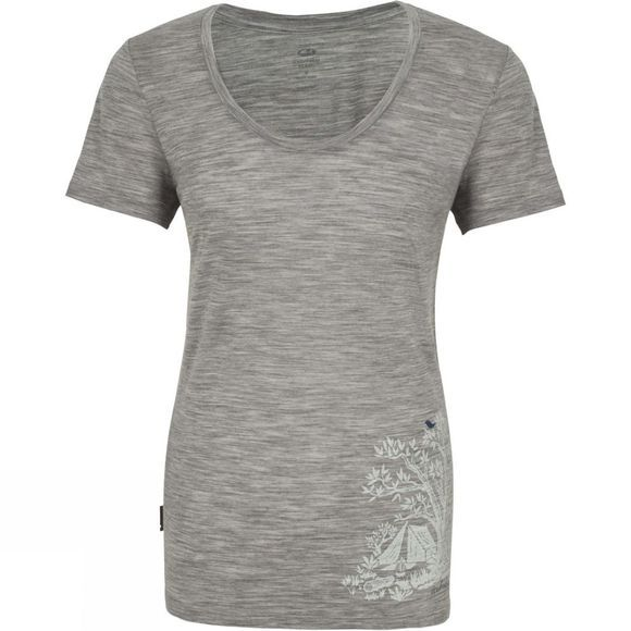 Icebreaker Womens Spector Short Sleeve Scoop Tee Grey Gone Bush