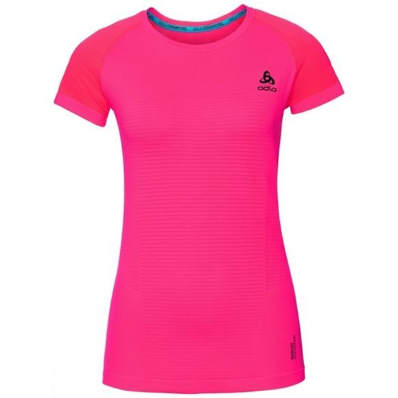 Odlo Womens Ceramicool Motion BL Short Sleeve Crew Neck Top Fiery Coral