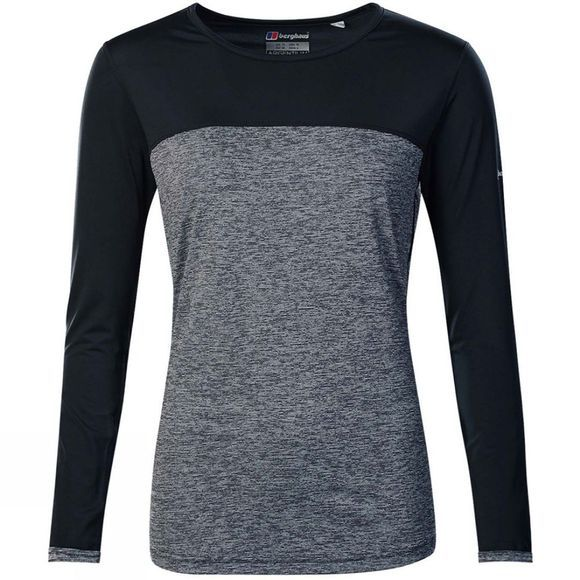 Berghaus Womens Voyager Tech Tee Long Sleeve Crew Carbon Marl/Jet Black