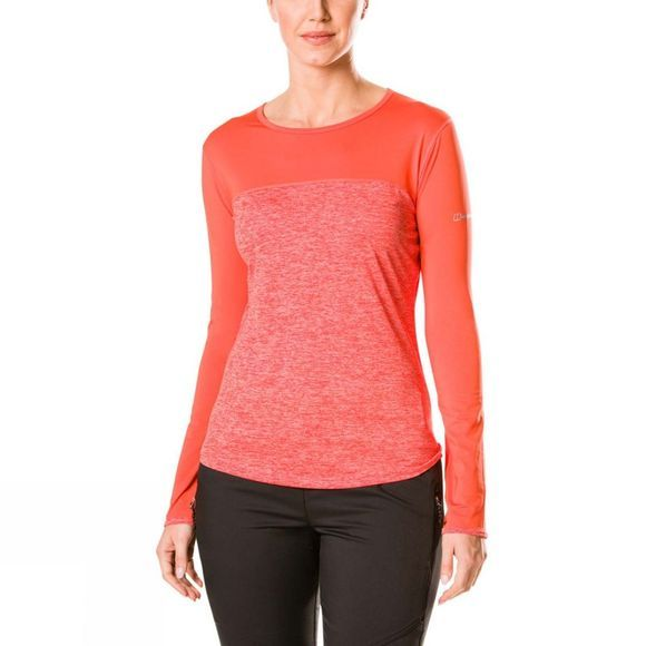 Berghaus Womens Voyager Tech Tee Long Sleeve Crew Volcano Marl/Hot Coral