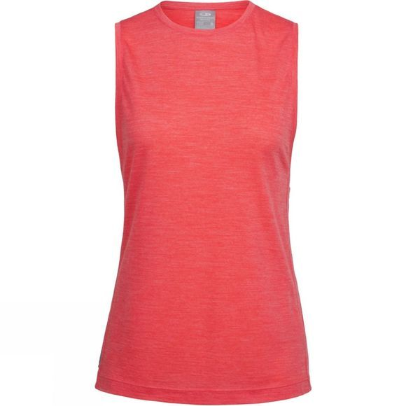 Icebreaker Womens Sphere Sleeveless Tee Vest Poppy Red Hthr
