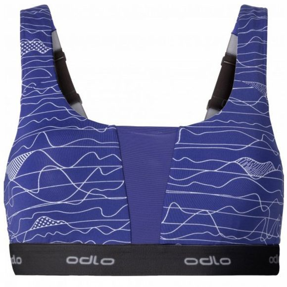 Odlo Womens Medium Padded Sports Bra Spectrum Blue / Allover Print