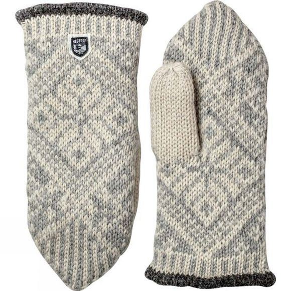 Hestra Womens Nordic Wool Mitt Grey/White