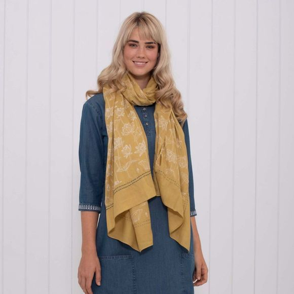 Brakeburn Womens Lotus Border Scarf Yellow
