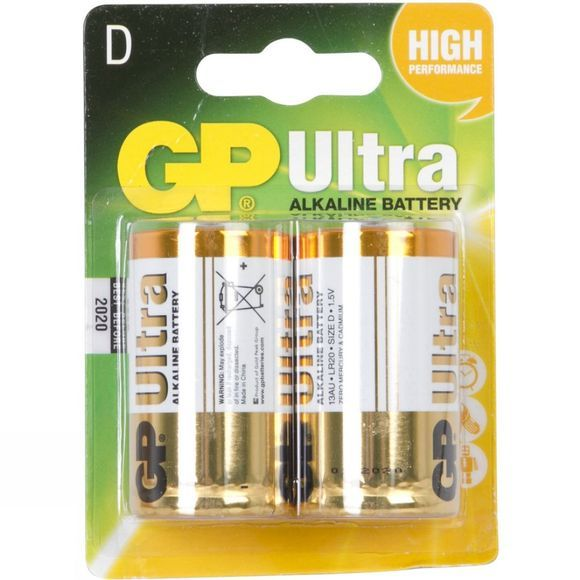 GP Batteries Ultra Alkaline D Battery (Pack of 2) No Colour
