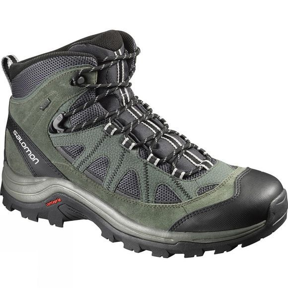 Salomon Mens Authentic Leather GTX Boot Asphalt / Night Forest
