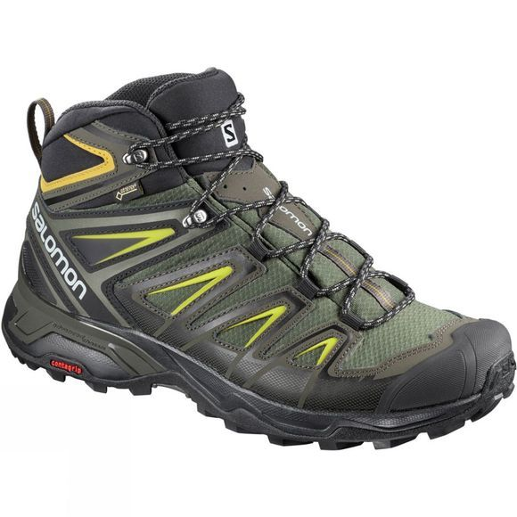 Salomon Mens X Ultra 3 Wide Mid GTX Boot Castor Gray/Black/Green Sulphur
