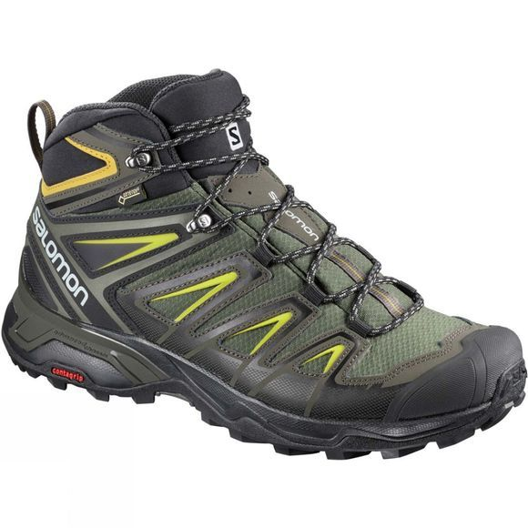 Salomon Mens X-Ultra Mid 3 GTX Boot Castor Gray/Black/Green Sulphur
