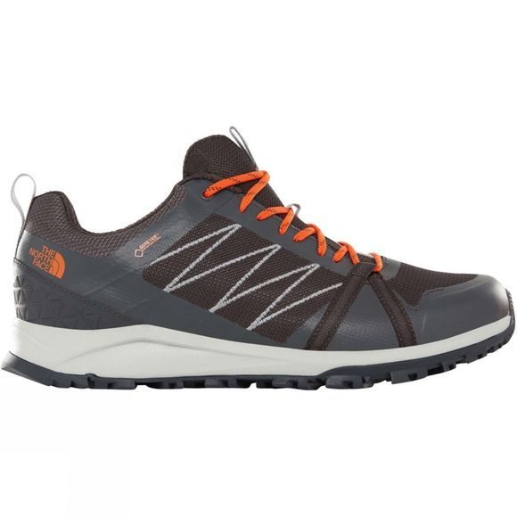 The North Face Mens Litewave Fastpack II GoreTex Shoes Ebony Grey/Scarlet Ibis