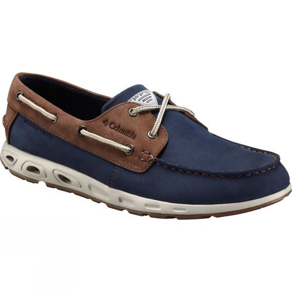 Columbia Mens PFG Bonehead Vent Leather Boat Shoe Collegiate Navy/ Stone