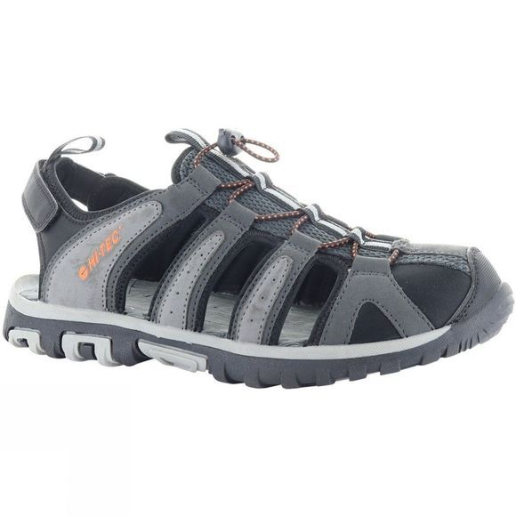 Hi-Tec Mens Cove Breeze Sandal Charcoal/Cool Grey/Black/Red Orange
