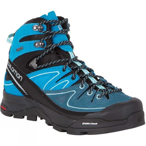 Salomon Womens X Alp Mid LTR GTX Shoe Black/Hawaiian Ocean/Ablue