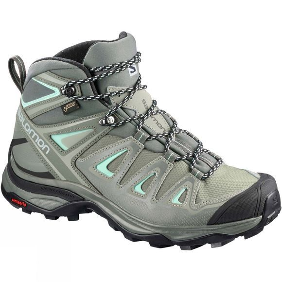 Salomon Womens X-Ultra Mid 3 GTX Boot  Shadow/Castor Gray/Beach Glass