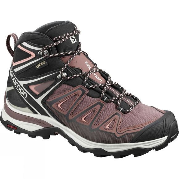 Salomon Womens X-Ultra Mid 3 GTX Boot  Peppercorn/Black/Coral Almond