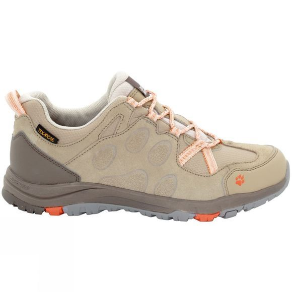 Jack Wolfskin Womens Rocksand Texapore Low Shoe Sand Dune/Hot Coral