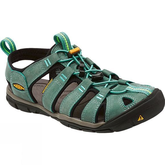 Keen Womens Clearwater CNX Leather Sandal Mineral Blue/Yellow