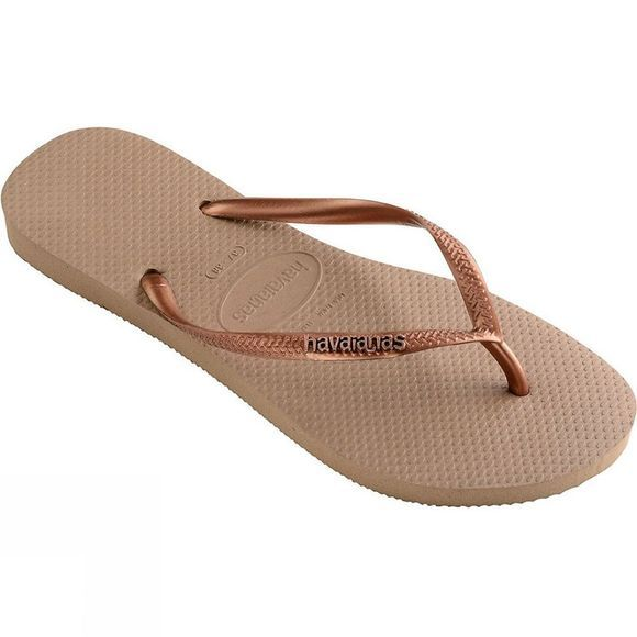 Havaianas Womens Slim Logo Metallic Flip Flop Rose Gold