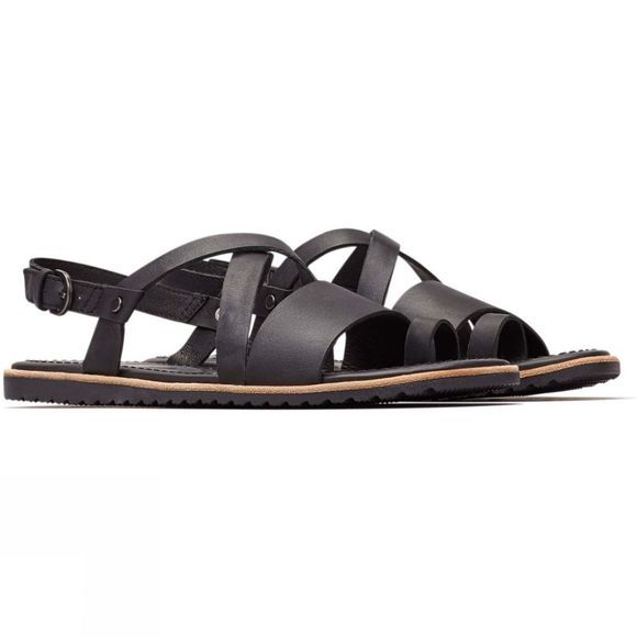 Sorel Womens Ella Criss Cross Sandals Black