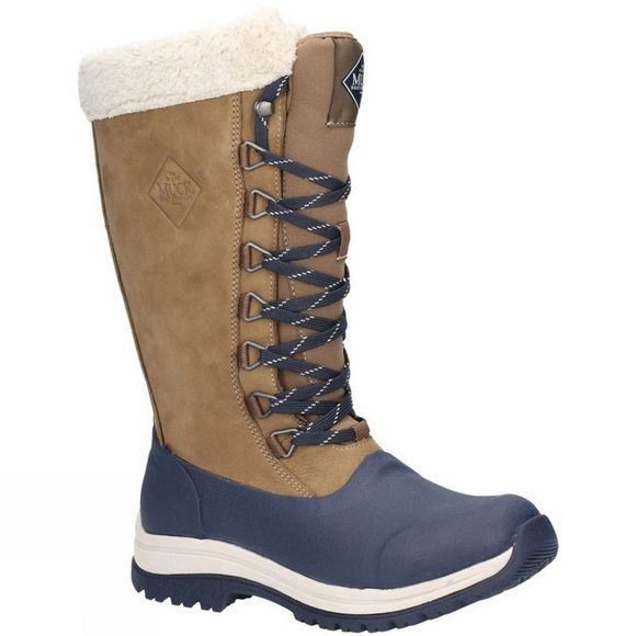 Muck Boot Womens Arctic Apres Lace Tall Wellington Otter/Navy